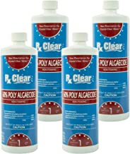 Rx Clear Algaecide 60 Plus   Non-Foaming Formula for Above Or In-Ground Swimming Pools   60 Percent Poly-Algaecide   Keeping Algae in Suspension   One Quart Bottles   4 Pack
