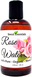 Premium Organic Moroccan Rose Water - 4oz - Imported from Morocco - 100% Pure (Food Grade) No Oils or Alcohol - Rich in Vi...