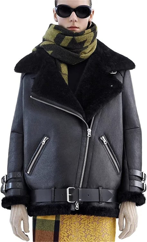 Women's Biker Jacket Zip Faux Leather Motorcycle thickening Coat Jacket