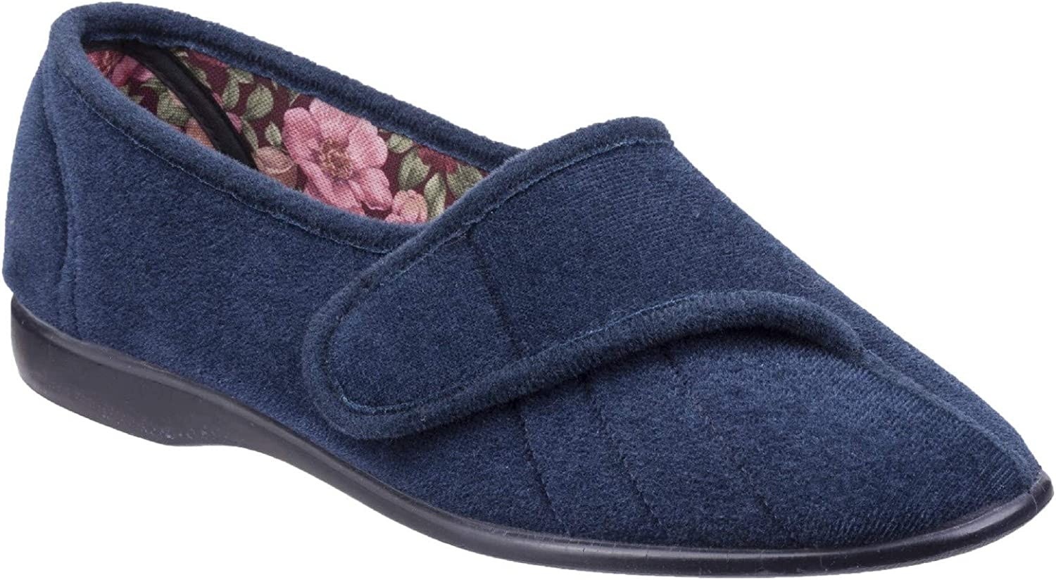 GBS Womens Audrey Velcro Womens Slipper Navy Size UK 9 EU 43