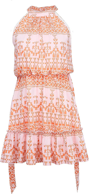 Summer Halter Boho Dresses for Women with Strap Belt Sleeveless Casual Floral Ruffle Flowy Short Sun Dress Outfits