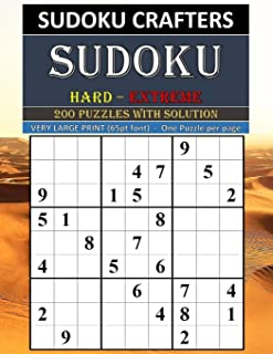 SUDOKU Hard - Extreme 200 PUZZLES WITH SOLUTION: VERY LARGE PRINT (65pt font)  -  One Puzzle per page
