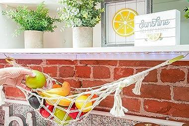 Macrame Fruit Hammock - Under Cabinet Fruit Basket w/ Hooks - Hanging Fruit Hammock for Kitchen Under Cabinet - Space Saving