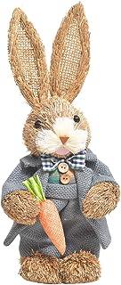 Darringls Lapin de Pâques Debout en Paille pour décoration de Pâques Lapin de Pâques Debout Figurine de Lapin Debout avec ...