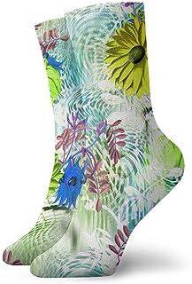 Calcetines acuarelas con estampado de flores Casual Divertido para botas deportivas Senderismo Running, 30 cm