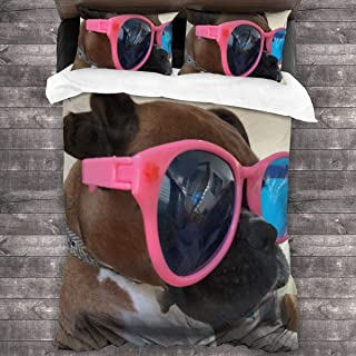pengyong Duvet Cover Set Boxer Dog Wearing Sunglasses 3 Piece Bedding Set Comforter Set with 2 Pillow Shams Zipper-Extra Long Perfect for Any Bed Room Or Guest Room