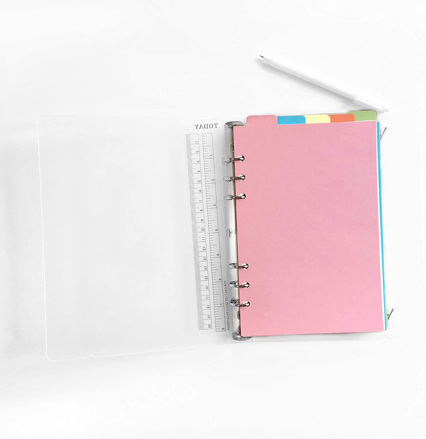 Binder Index PP /& Paper Dividers for 8.5 inch//6 inch A5//A6 6-Holes Cover Ring Binder A Sunny Planner, A6//17cm10cm//6 Inch