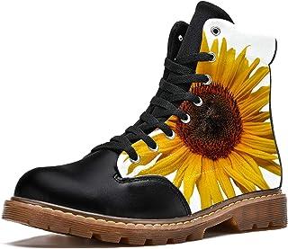 LORVIES Plante Jaune Tournesol d'été Bottes d'hiver Chaussures Montantes en Toile à Lacets pour Hommes