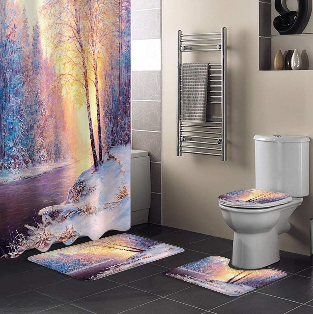 MuswannaA 4 Piece Shower Max 57% OFF Curtain Sets Warm El Paso Mall Woods Winter Dusk Sno