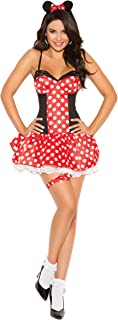 Women's Sexy and Flirty Miss Mouse Roleplay Cosplay Halloween Costume