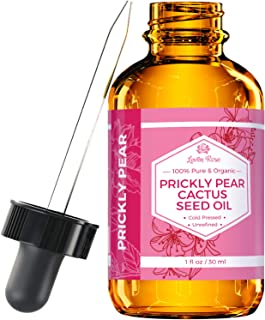 Prickly Pear Cactus Seed Oil (Barbary Fig) by Leven Rose 100% Pure Organic, Extra Virgin, Cold Pressed, All Natural Face, Dry Skin & Body Moisturizer and Damaged Hair Treatment 1 oz
