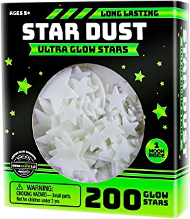 Ultra Brighter Glow in the Dark Stars; Special Deal 200 Count w/ Bonus Moon, Amazing for..