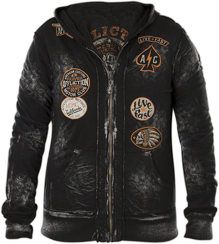 Affliction Outlaw Motors Reversible Zip Hood Jacket