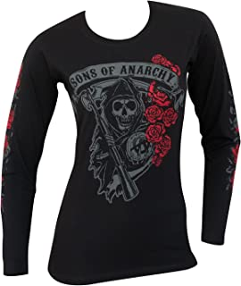 Sons of Anarchy Reaper Rose Logo Long Sleeve Ladies Shirt