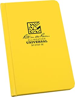 """Rite in the Rain Weatherproof Hard Cover Notebook, 4 1/4"""" x 6 3/4"""", Yellow Cover, Universal Pattern (No. 370F-M)"""
