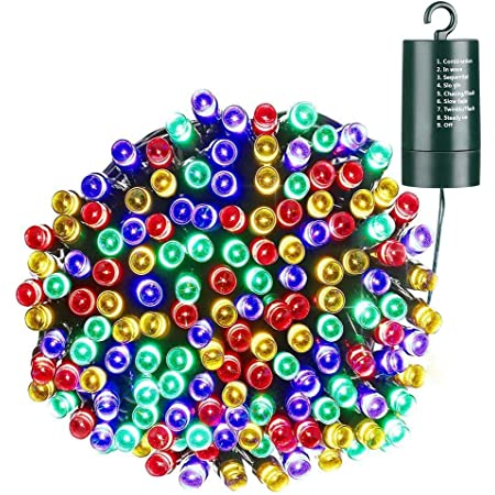 Joomer Battery Christmas Lights, 66ft 200 LED Battery Operated String Lights Waterproof 8 Modes & Auto Timer for Christmas Trees, Home, Garden, Party and Holiday Decoration (Multi-Color)
