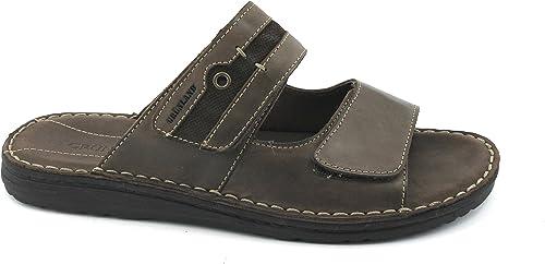 Grünland LAPO CI1273 dunkelbraunes Leder Pantoffel Mann Bands Tücken