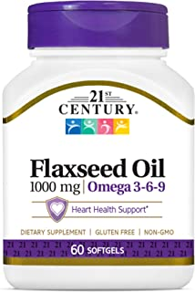 21st Century Flaxseed Oil 1000 mg Softgels, 60 Count (22407)