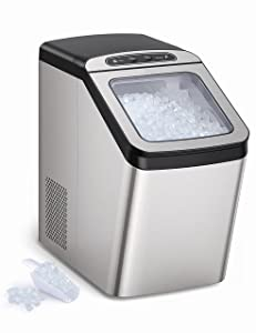 Nugget Ice Maker for Countertop, Sonic Ice Maker Machine, Makes 26lb Nugget Ice per Day, Crunchy Pellet Ice Maker with 3.3lb Ice Bin and Scoop for Home Office, Self-Cleaning