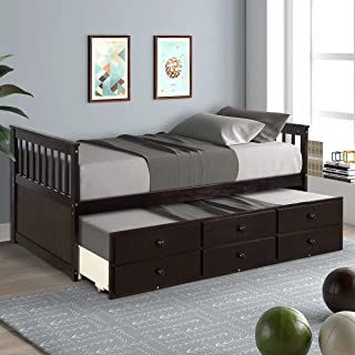 Storage Twin Daybed with Trundle and 3 Storage Drawers Platform Bed Frame with Headboard Footboard Kids Bed (Espresso)
