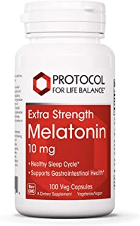 Protocol For Life Balance - Melatonin 10 mg Extra Strength - Supports Gastrointestinal Health, Healthy Sleep Cycle, and Re...