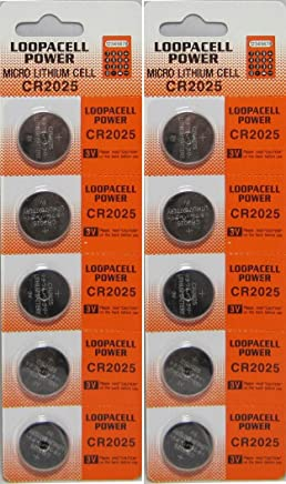 Loopacell Lithium Battery CR2025 - 10 Pcs Pack - 2 Blisters 3V Lithium Button Cell