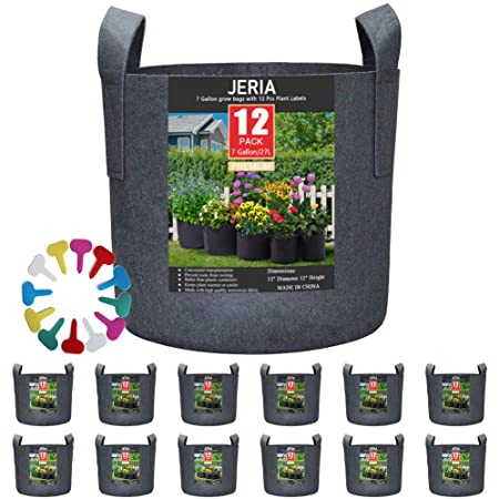 JERIA 12-Pack 7 Gallon, Vegetable/Flower/Plant Grow Bags, Aeration Fabric Pots with Handles (Black) ,Come with 12 Pcs Plant Labels