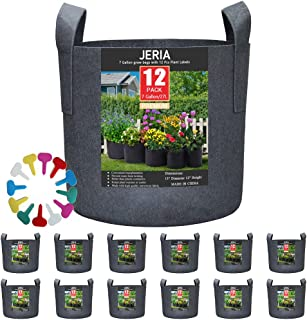 JERIA 12-Pack 7 Gallon, Vegetable/Flower/Plant Grow Bags, Aeration Fabric Pots with Handles (Black), Come with 12 Pcs Plant Labels