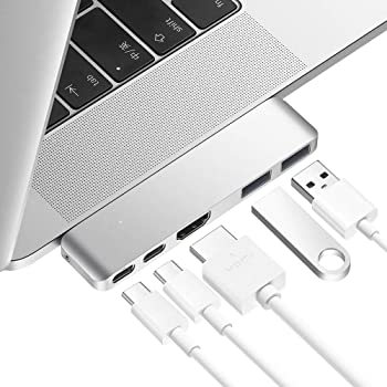 Purgo Mini USB C Hub Adapter Dongle for 2020/2019/2018 MacBook Air, 2020/2019-2016 MacBook Pro with USB C Ports, 4K HDMI, 100W PD, 40Gbps TB3 5K@60Hz and 2 USB 3.0 Ports (Silver)
