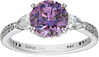 Myia Passiello Essentials Swarovski Zirconia Three Stone Fancy Purple Anniversary Ring