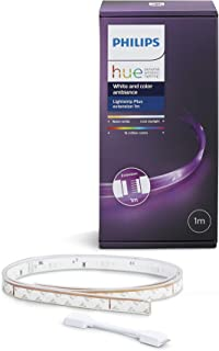 Philips Hue Lightstrip Plus Tira Inteligente LED 1m (Extensión para Tira 2m) Luz Blanca y Color Compatible con Alexa y...