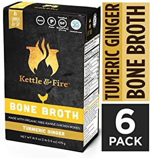 Turmeric Ginger Chicken Bone Broth by Kettle and Fire, Pack of 6, Keto Diet, Paleo Friendly, Whole 30 Approved, Gluten Free, with Collagen, 11g of protein, 16.9 fl oz