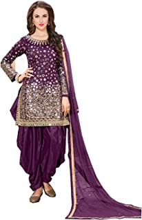 Generic Fabric Embroidered And Real Mirror Work Patiyala Suit