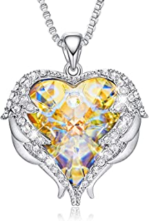 CDE Necklace for Women Girls Angel Wing White Gold Plated Pendant Heart of Ocean Heart-Shape Jewelry Embellished with Crystals from Swarovski Necklaces for Mom Gift for Mothers Day