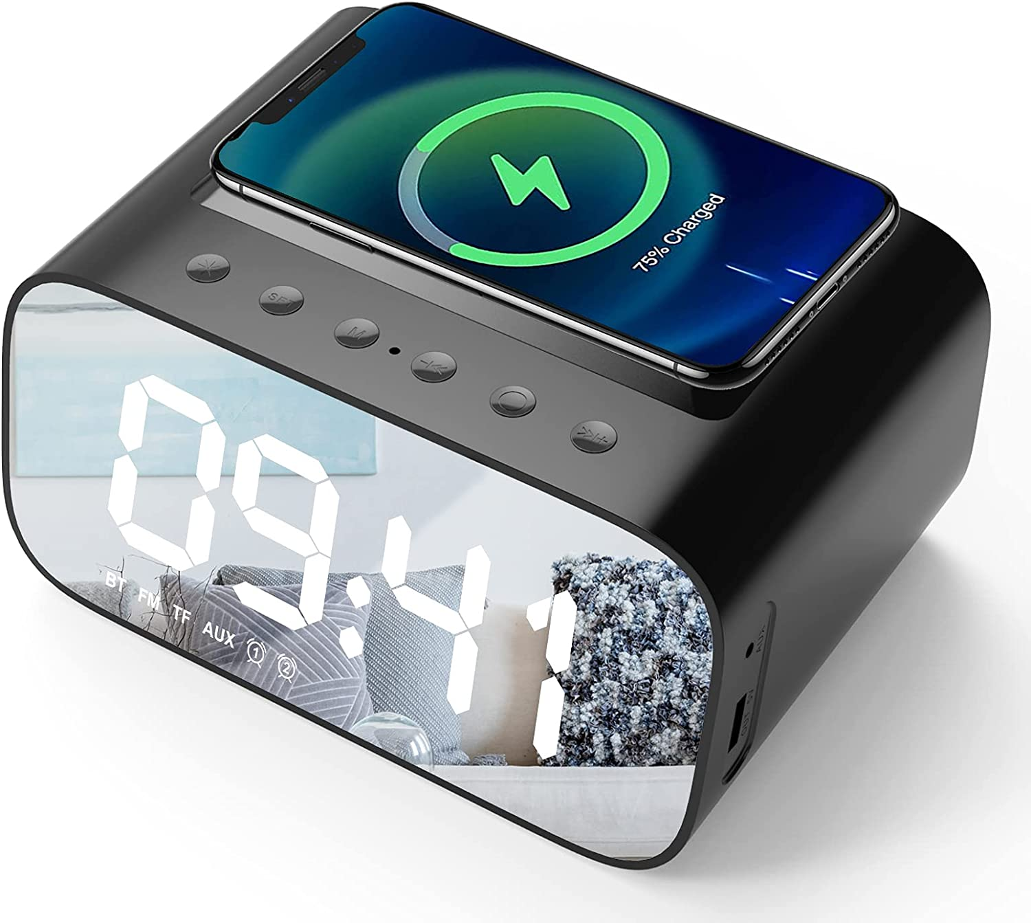Lotuze Bedside Digital Alarm Clock with Wireless US Special sale item Popularity and Charging