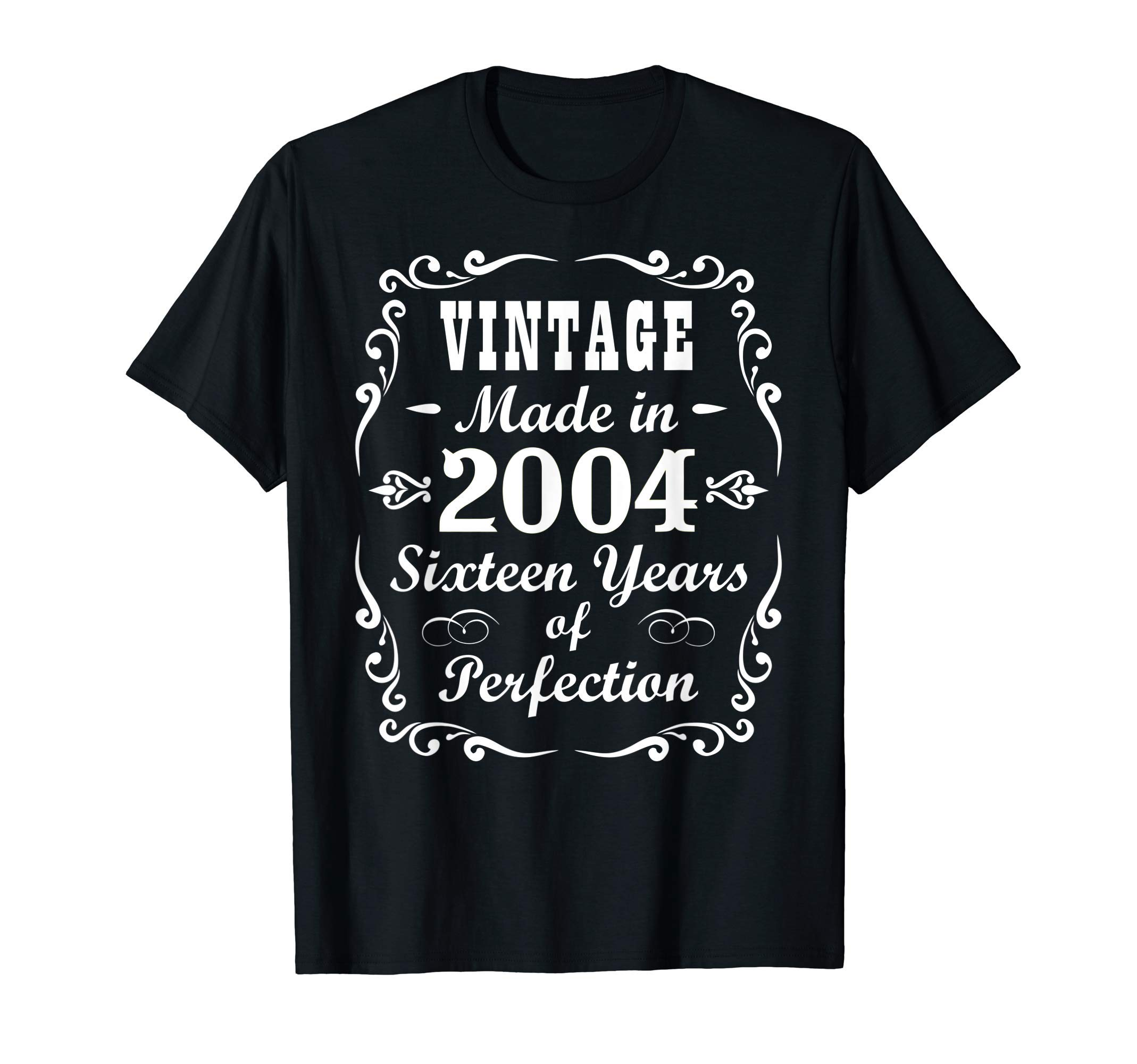 16th Birthday Gift Vintage 2004 Tee Sixteen Years Perfection T-Shirt