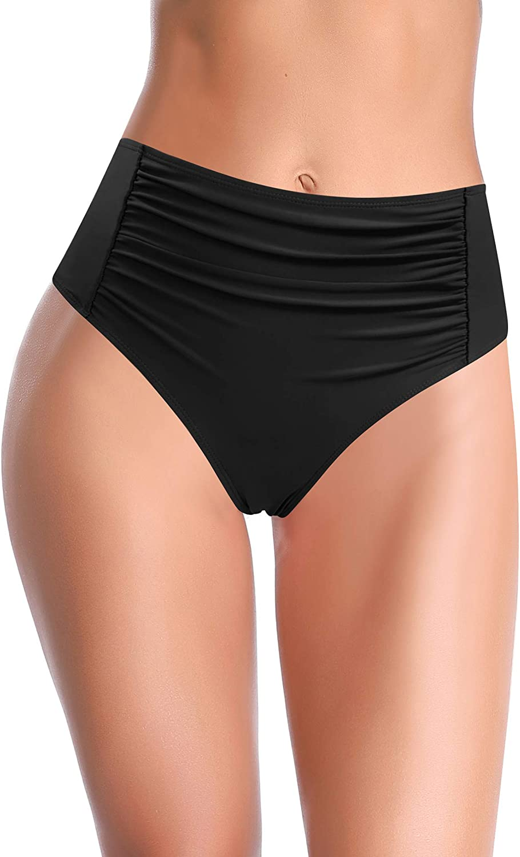 SHEKINI Women's Retro High Waisted Bikini Bottoms Ruched Swim Bottoms