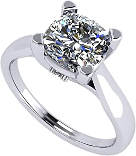 Cushion Cut Simulated Diamond Solitaire Engagement ring Lucita style 7.0mm 2.00ct Platinum Plated 11.5