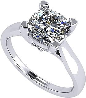 NANA 1to2carat Cushion Cut Simulated Diamond Solitaire Ring Swarovski Zirconia,Platinum Plated Sterling Silver