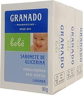 Linha Bebe Granado - Sabonete em Barra de Glicerina Lavanda (3 x 90 Gr) - (Granado Baby Collection - Lavender Glycerin Bar Soap Net (3 x 3.2 Oz))