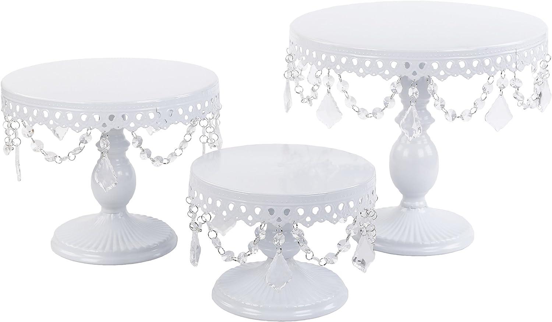 VILAVITA 3-Set Antique Cake Stand Round Cupcake Stands Metal Dessert Display with Crystal Beads, White