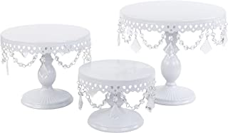 VILAVITA 3-Set Antique Cake Stand Round Cupcake Stands Metal Dessert Display with Crystal Beads, White
