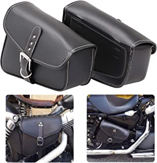 Bid4ze 2x Motorcycle Black PU Leather Saddlebags Swingarm Bag Side Tool Bags For Harley Sportster XL 883 1200 Night Rod Special Honda Yamaha