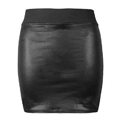 28f656ab2d0 Womens Formal Wet Look PVC Ladies Sretchy Office Bodycon Midi Peplum Pencil Skirt  Plus Size 8