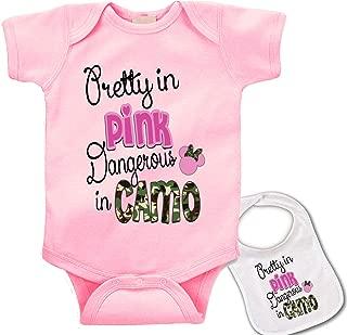 Pretty in Pink, Dangerous in Camo Custom Baby Bodysuit Onesie & Matching bib