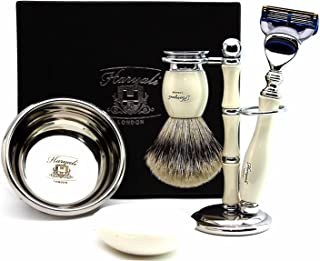 100% Hand Made Shaving Set in Ivory for Men's.Set Includes Pure Sliver Tip Badger Hair Brush, 3 Razors To Choose,Shaving Bowl with Soap and Brush Holder. (Gillette Fusion Razor)