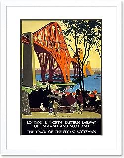 Flying Scotsman Forth Bridge LNER UK Vintage Art Framed Print & Mount F12X1029