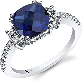 Created Blue Sapphire Ring with White Topaz in 14 Karat White Gold, 3 Carats, Cushion Cut, 8mm, Sizes 5-9