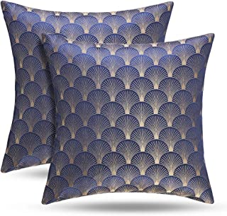 VANZAVANZU Throw Pillow Covers 18 x 18 Inch Set of 2 Cushion Covers Decorative Square Scallop Shell Throw Pillow Cases Throw Pillows for Couch Sofa Bed Car Home Deco (BK-Dark Blue)