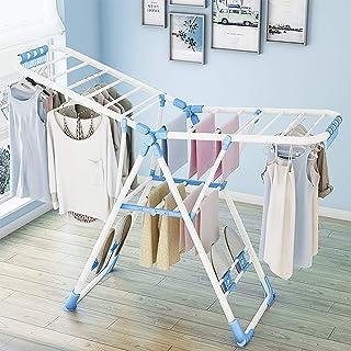 Todeco - Séchoir à Linge Réglable, Etendoir à Linge Pliable, Blanc/Bleu, Taille dépliée (Etendoir): 138 x 90.5 x 51 cm (5...